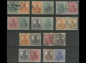 Dt. Reich, W 5 bis W 14, zehn versch. Zd. gestempelt, Mi. 1705,- (12713)