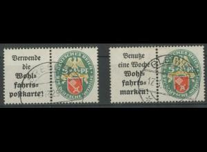 Dt. Reich, W 34 + W 35, gest., vollständige Zähnung, Mi. 120,- (12845)