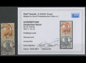 Dt. Reich, S 8 ba, gestempelt, Kurzbefund BPP, Mi. 200,- (12886)