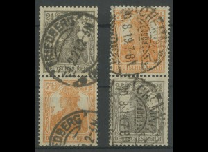 Dt. Reich, S 11 a + S 13 a, gestempelt, gepr. Infla/BPP, Mi. 70,- (12909)