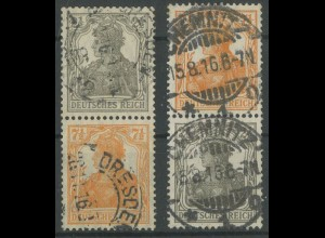 Dt. Reich, S 11 a + S 13 a, gest. 1916, gepr. Infla/BPP (Oe), Mi. 70,- (12918)