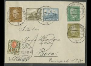 Dt. Reich, S 42 + W 41, unterfrankierter Auslands-Brief, Nachgebühr (12927)