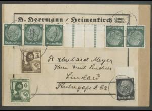 Dt. Reich, KZ 22.2, portogerecht auf Päckchen-Adresse, Mi. 30,- (12933)