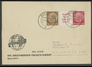 Dt. Reich, W 67, portogerechte Auslands-Karte (12935)