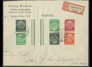 Dt. Reich, KZ 32 (2) + S 199, portogerechter R-Brief (12937)