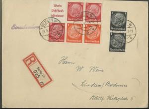 Dt. Reich, S 195 + S 199 (2), portogerechter R-Brief (12938)