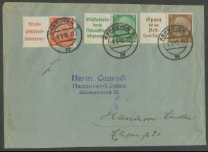Dt. Reich, W 87, W 88.1, W 79, portogerechter Orts-Brief, Mi. 65,- (12939)