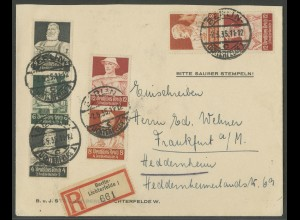 Dt. Reich, S 220, S 227, S 229, portogerechter R-Brief, Mi. 86,- (12940)