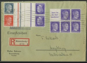 Dt. Reich, S 282, KZ 39, KZ 40, portogerechter R-Brief, Mi. 39,- (12947)