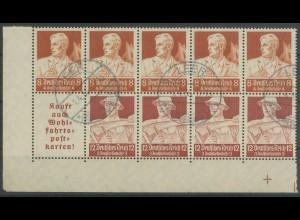 Dt. Reich, HBl. 102 C, gestempelt, Bogenecke, Mi. 200,- ++ (13008)