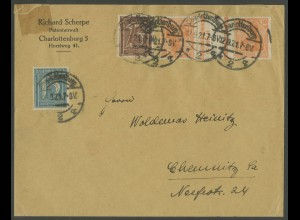 Dt. Reich, KZ 1, portogerechter Fern-Brief, Mi. 500,- (13021)