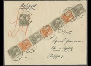 Dt. Reich, S 12 + S 14, unterfrankierter Rohrpost-Orts-Bf., Mi. MiF 75,- (13031)