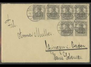 Dt. Reich, ex HBl. 10, portoger. Mehrfachfrankatur mit 6 Heftchenmarken (13033)
