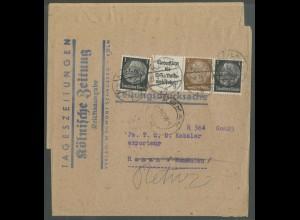 Dt. Reich, W 77, portogerecht auf Auslands-Streifband (13054)
