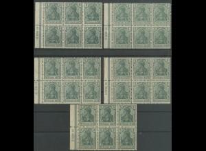 Dt. Reich, HBl. 2 II A, fünf verschiedene HAN, ungebraucht, Mi. 450,- (13069)