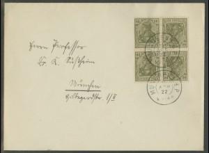 Dt. Reich, K 4 (2), Mehrfach-Frankatur, Orts-Brief, Mi.-Handbuch 55,- (13111)