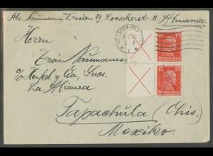 Dt. Reich, W 23 (2), Mehrfachfrankatur auf Auslands-Brief, Mi. 420,- (13160)