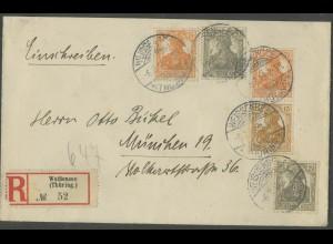 Dt. Reich, S 7, portogerecht auf R-Brief, Mi. 400,- (13187)