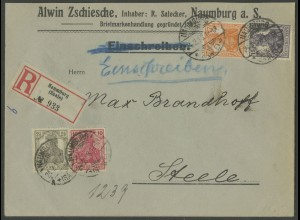 Dt. Reich, S 8, portogerecht auf R-Brief, Mi. 400,- (13188)