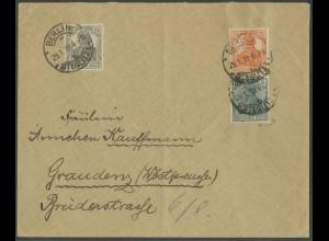 Dt. Reich, S 3 ab , portogerechter Fern-Brief, gepr. BPP, Mi. 70,- (13193)
