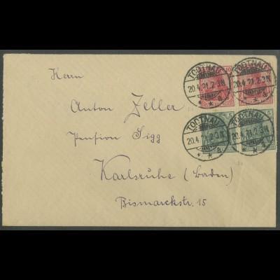 Dt. Reich, S 4 II aa (2), portoger. Fern-Brief, gepr. Infla, Mi. 150,- (13199)