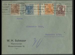 Dt. Reich, KZ 2, portogerechter Fern-Brief, Mi. 500,- (13209)