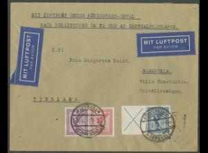 Dt. Reich, W 22 + W 21.1, portoger. Auslands-Luftpost-Brief, Mi. 250,- (13241)