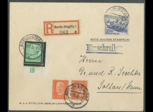 Dt. Reich, K 13, portogerechter R-Brief, Mi. 110,- (13258)