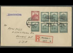 Dt. Reich, S 90, auf Auslands-R-Brief, Mi. Brief 80,- (13271)
