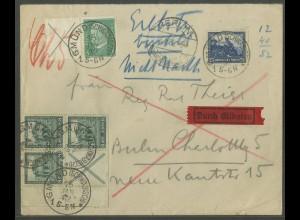Dt. Reich, S 92 LR 1, auf Eil-Brief, Mi.-Handbuch 130,- (13272)