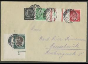 Dt. Reich, KZ 17 + Eckrand 541, portogerechter Fern-Brief, Mi. 120,- (13288)