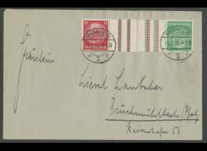 Dt. Reich, KZ 17, Einzelfrankatur auf Fern-Brief, Mi.-Handbuch 80,- (13290)