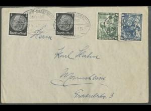 Dt. Reich, SK 19, portogerechter Fern-Brief, Mi. 180,- (13296)