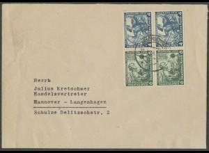 Dt. Reich, W 47 (2), Mehrfachfrankatur auf Fern-Brief, Mi.-Handbuch 45,- (13299)