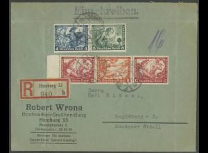 Dt. Reich, W 56 LR 1 + W 49, portogerecht auf R-Brief, Mi. 240,- (13302)