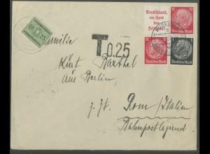 Dt. Reich, W 67, Auslands-Brief mit Nachgebühr (13313)