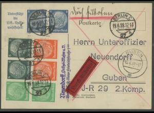 Dt. Reich, W 68, 69, 70, S 159, portogerechte Eil-Karte (13315)