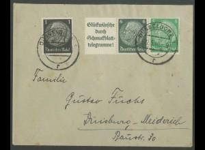 Dt. Reich, W 82, portogerechter Fern-Brief, Mi. 50,- (13318)