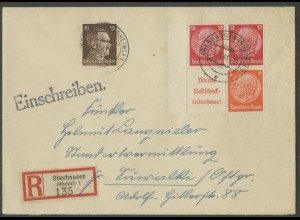 Dt. Reich, S 205 LR + S 199, portogerechter R-Brief, Mi.-Handbuch 90,- (13324)