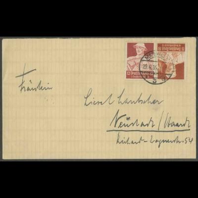 Dt. Reich, K 24, Einzelfrankatur auf Fern-Brief, Mi.-Handbuch 30,- (13339)