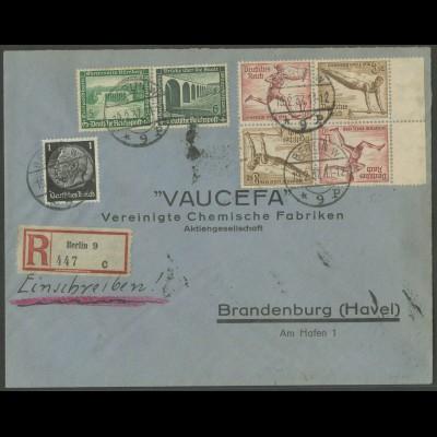 Dt. Reich, SK 28 RR, SK 28, W 119, portogerechter R-Brief, Mi. 105,- (13344)
