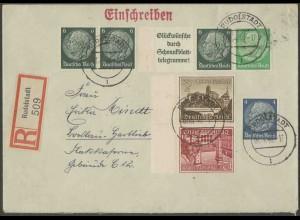 Dt. Reich, W 82 + SK 36, portogerechter R-Brief, Mi. 60,- (13356)