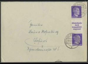 Dt. Reich, S 286, portogerechter Fern-Brief, Mi. 50,- (13358)