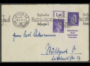 Dt. Reich, S 288, portogerechter Fern-Brief, Mi. 90,- (13359)
