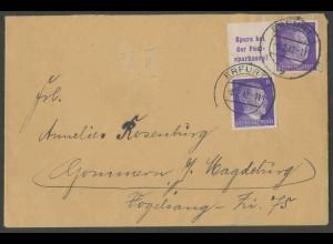Dt. Reich, W 154, portogerechter Fern-Brief, Mi. 25,- (13360)