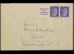 Dt. Reich, W 155, portogerechter Fern-Brief, Mi. 40,- (13361)