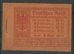 Dt. Reich, MH 13 A 2, postfrisch, ungeknickt, Mi. 300,- ++ (13530)