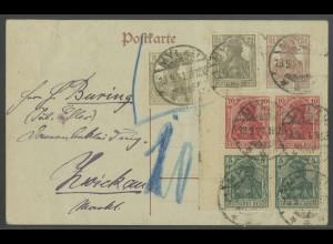 Dt. Reich, S 5 (2), unterfrankierte GA-Karte, Nachgebühr, Mi. 45,- (13600)