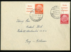 Dt. Reich, W 87 + S 203, Fern-Brief nach Böhmen, Mi.-Handbuch 40,- (13632)