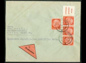 Dt. Reich, W 87, portogerechter Nachnahme-Brief Sudetenland nach Böhmen (13636)